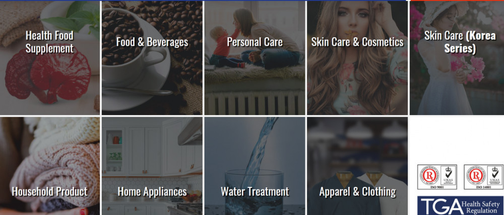Pictures of DXN products such as health food supplements, home appliances, apparel and clothing, etc.