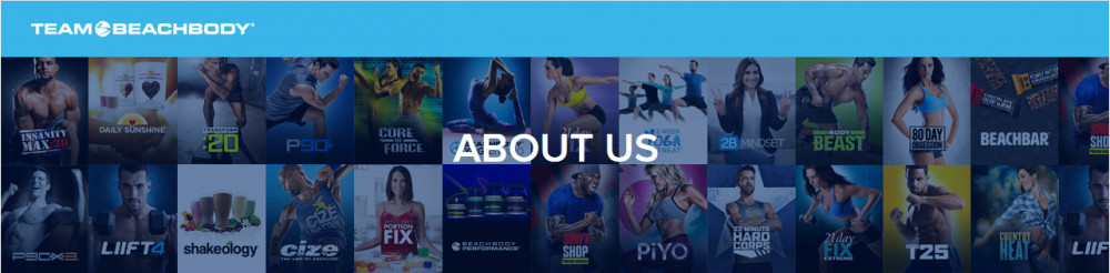 Several images with words 'AboutUs' to signify beachbody company review