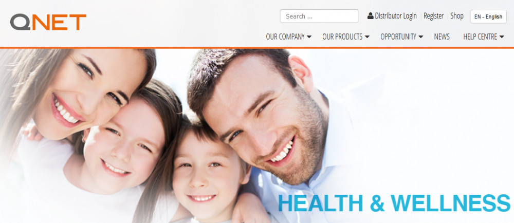 Smiling family of 4 for Qnet's health & wellness product
