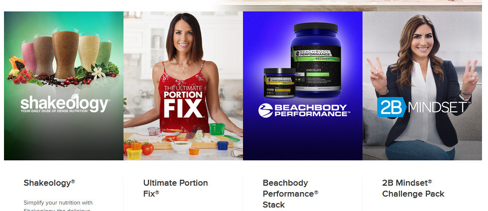 Some beachbody products showing shakeology, portion fix, beachbody performance, and 2B mindset