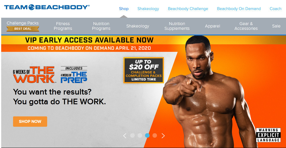 Team Beachbody showing a black man with a taut body and pointing at you
