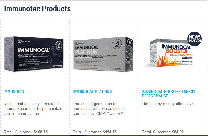 Images of 3 Immunotec products 'Immunocal', 'Immunocal platinum', and 'Immunocal booster enrgy performance'nocal