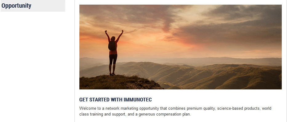 Lady holding up hands on a mountain before a sunset with words 'Get started with Immunotec' for Immunotec review