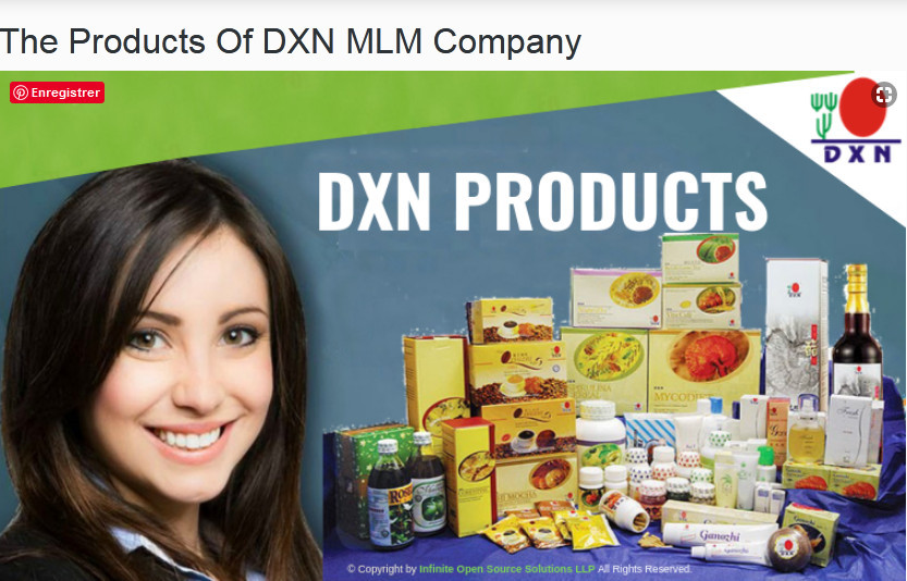 A smiling lasy besides DXN products to signify DXN vs. Forever Living