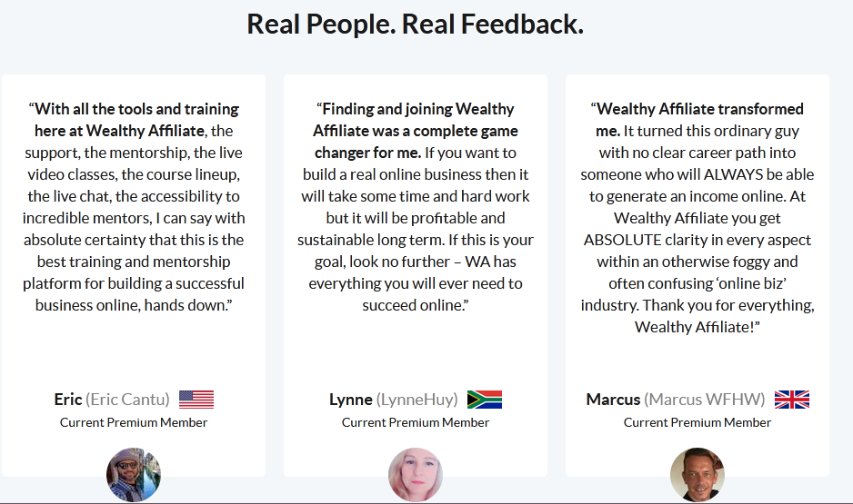 Wealthy Affiliate testimonials showing what members are saying about the company