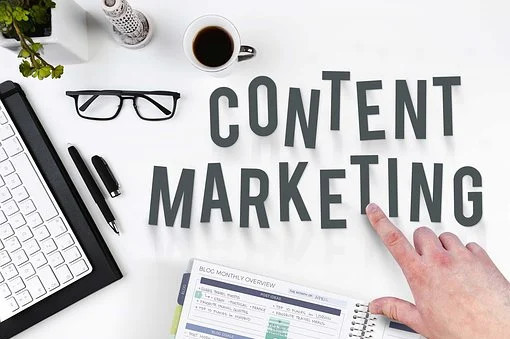 Content marketing on a table with other tools