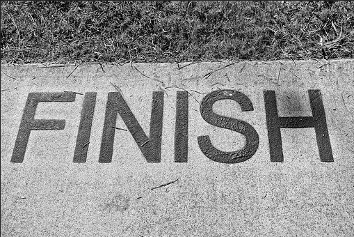 FINISH sign on the ground