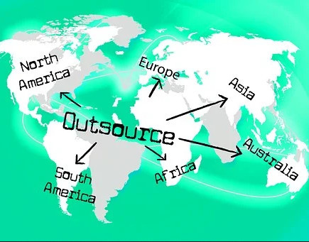 Outsource with arrows pointingtoAfrica, Aistralia, Asia, Europe, North America, and South America