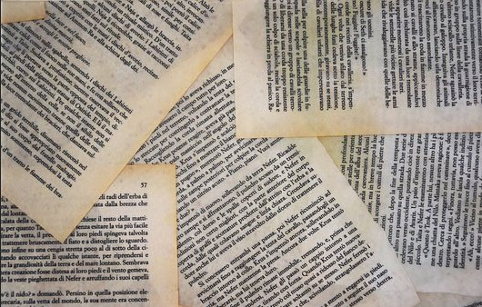 Printed pages laid oneach other to signify content