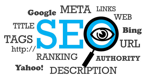 SEO with magnifying glass over an eye and words like ranking, links, etc