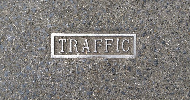 Traffic written on a polished marble surface