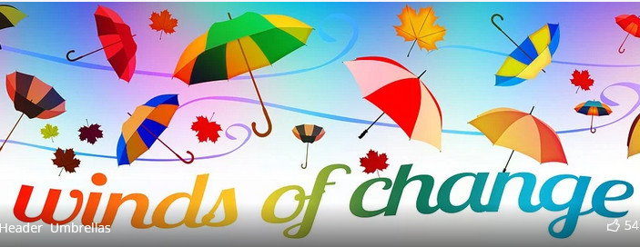 Colorful umbrellas and leaves against a bright background with words 'Winds of change'