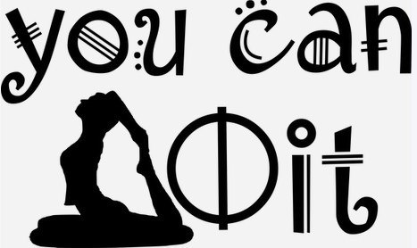 Silhouette doing yoga with words You can do it