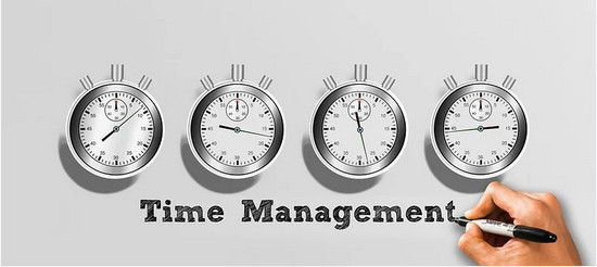 Time management showing 4 clocks and a hand writing